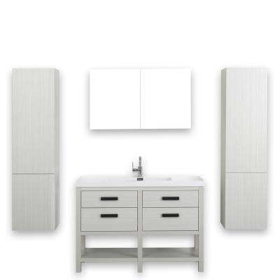 47.2 in. W x 32.5 in. H Bath Vanity in Ash Gray with Resin Vanity Top in White with White Basin and Mirror