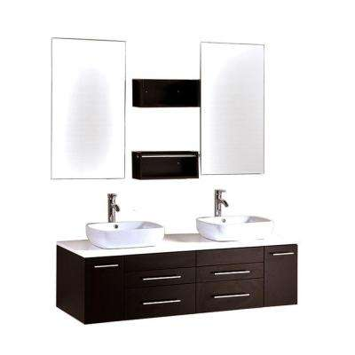 Oriel 60 in. Double Vanity in Espresso with Stone Vanity Top in White