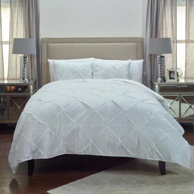 White Solid Geometric Cotton Queen Quilt