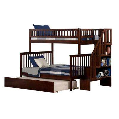 Woodland Walnut Twin Over Full Staircase Bunk Bed with Twin Size Urban Trundle Bed
