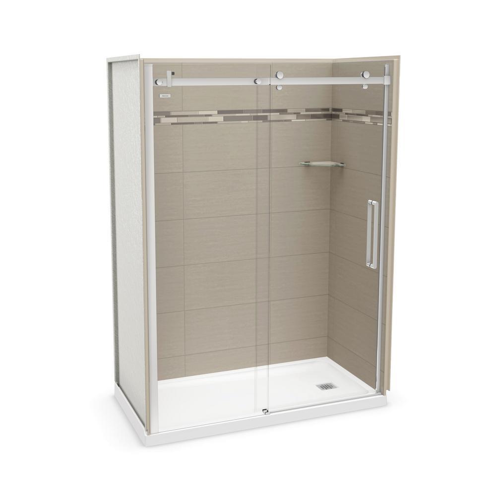Utile Origin 32 in. x 60 in. x 83.5 in. Right Drain Alcove Shower Kit in Greige with Chrome Shower Door