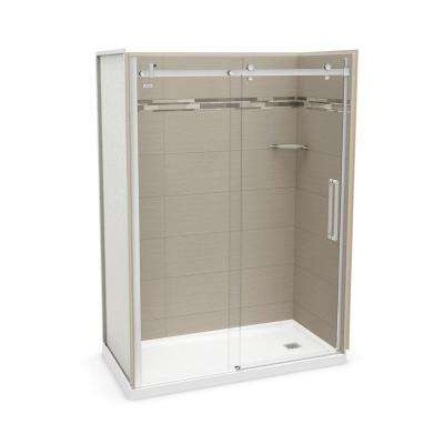 32 in. x 60 in. x 83.5 in. Direct-to-Stud Right Alcove Shower Kit in Origin Greige with Chrome Door