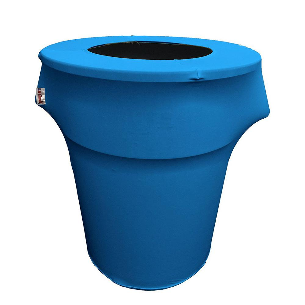 Stretch Spandex Trash Can Cover 55 Gal. Round in Turquoise