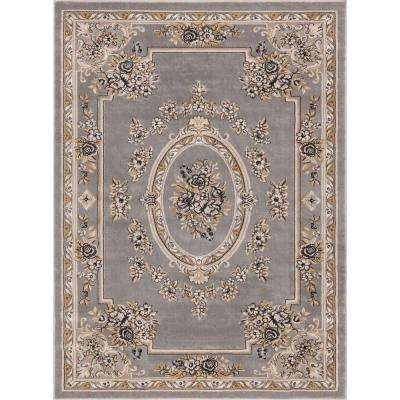 Timeless Le Petit Palais Gray 9 ft. x 13 ft. Traditional Area Rug