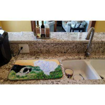 14 in. x 21 in. Multicolor Border Collie Dish Drying Mat