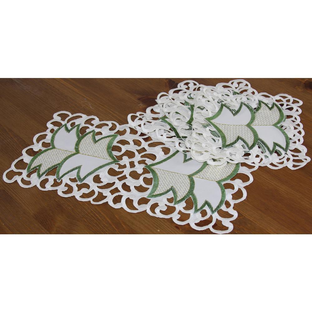 8 in. x 15 in. Tannenbaum Embroidered Cutwork Holiday Traycloth:Runner (4-Set)