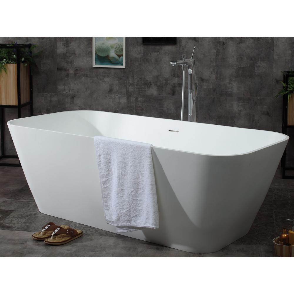 ALFI BRAND AB9952 68 in. Resin Flatbottom Bathtub in Matte White