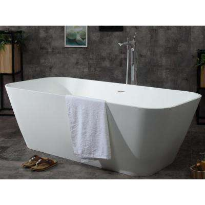 AB9952 68 in. Resin Flatbottom Bathtub in Matte White