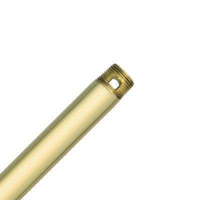 12 in. Polished Brass Extension Downrod for 10 ft. ceilings