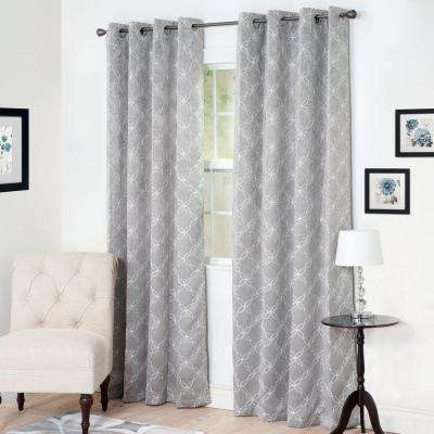 Blackout Myra Silver Polyester Darkening Curtain - 54 in. W x 84 in. L