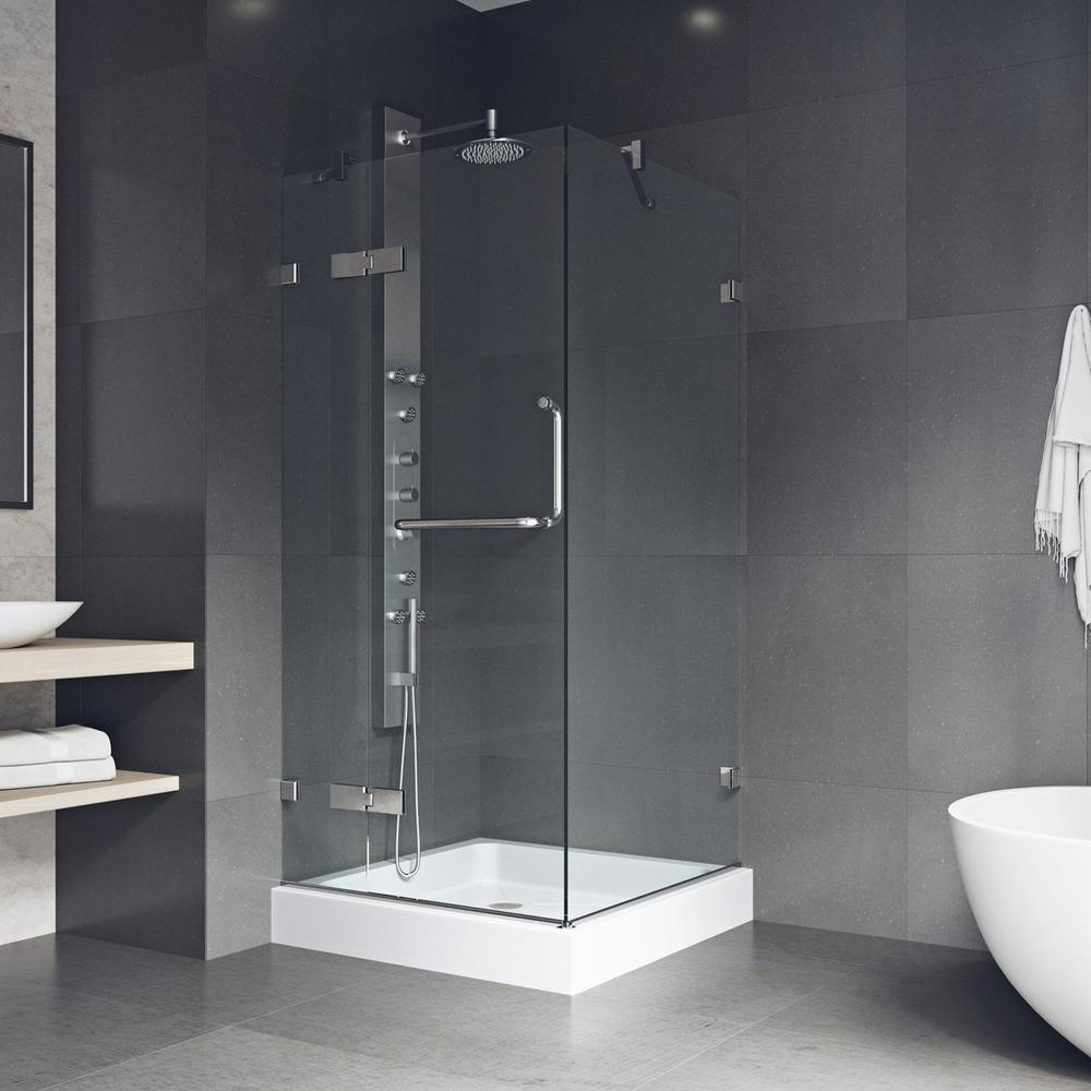 VIGO Monteray 32.375 in. x 79.25 in. Frameless Pivot Shower ...