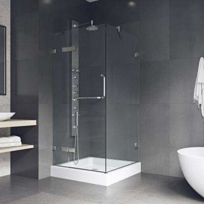 Monteray 32.375 in. x 79.25 in. Frameless Pivot Shower Enclosure in Chrome and Clear Glass with Base in White