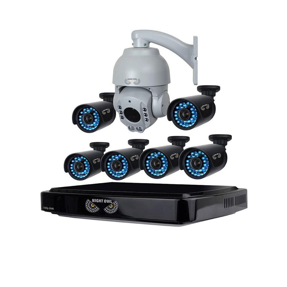 Night Owl 8Channel HD(AHD) 720p Security System with 1 TB HDD Surveillance DVR,6 x 720p HD Bullet Cams and 720p Outdoor PTZ Camera