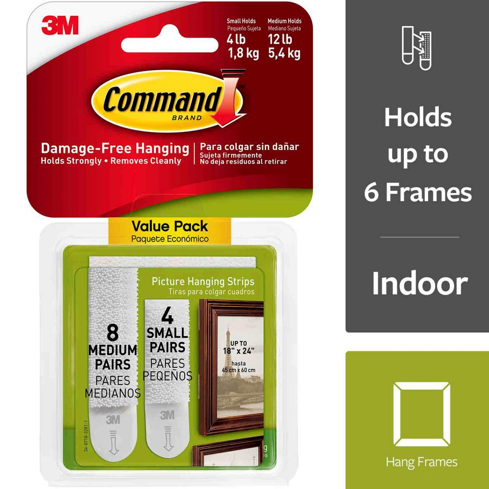 Command Small And Medium White Picture Hanging Adhesive Strips 4