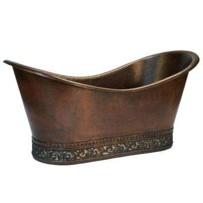 5.58 ft. Copper Double Slipper Flatbottom Non-Whirlpool Bathtub in Oil Rubbed Bronze with Scroll Base and Nickel Inlay