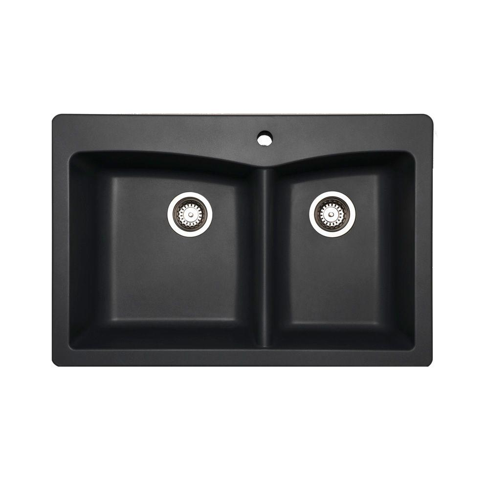 Glacier Bay Saratoga Dual Mount Composite 33 in. 1-Hole Double Basin Kitchen Sink in Slate
