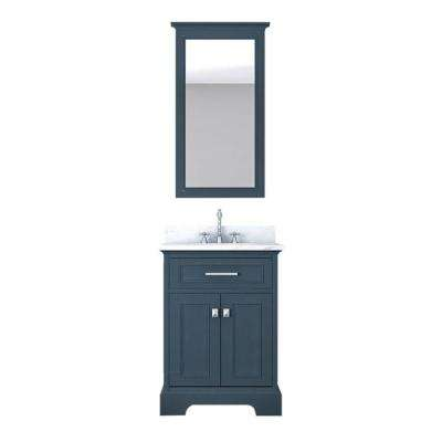 Yorkshire 25 in. W x 22 in. D Vanity in Gray with Marble Vanity Top in White with White Basin and Mirror