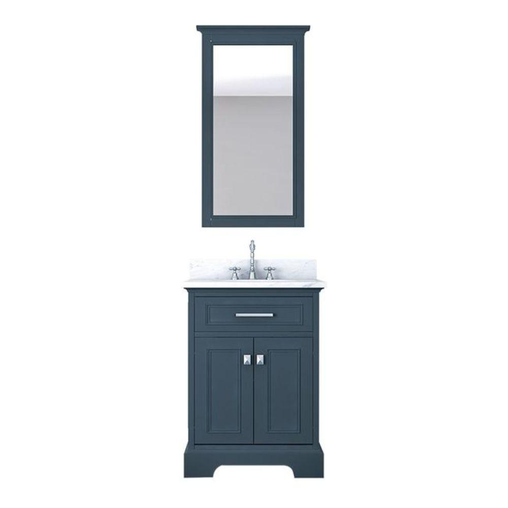 Alya Bath Yorkshire 25 in. W x 22 in. D Vanity in Gray with Marble Vanity Top in White with White Basin and Mirror
