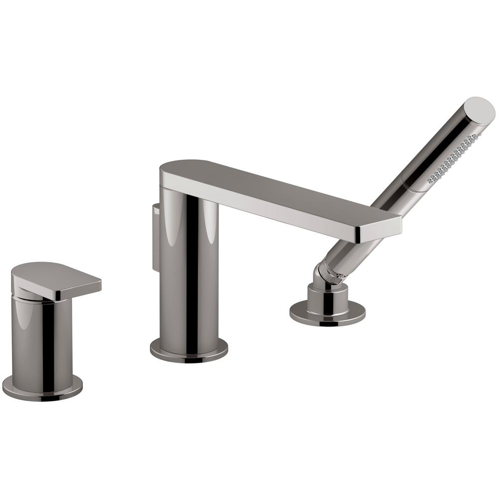 KOHLER Composed Single Handle Deck Mount Roman Tub Faucet with Hand Shower  in Vibrant Titanium K 73078 4 TT The Home Depot