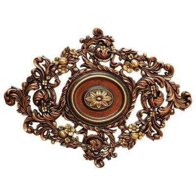 22-1/2 in. x 30-3/8 in. Vines Garden, Bronze, Gold and Copper Polyurethane Hand Painted Ceiling Medallion