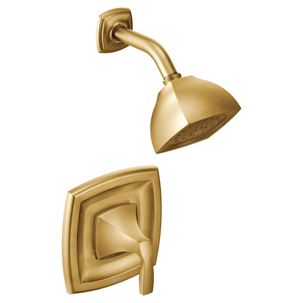 MOEN Voss Posi-Temp Single-Handle 1-Spray Shower Faucet Trim Kit in Brushed Gold (Valve Not Included)