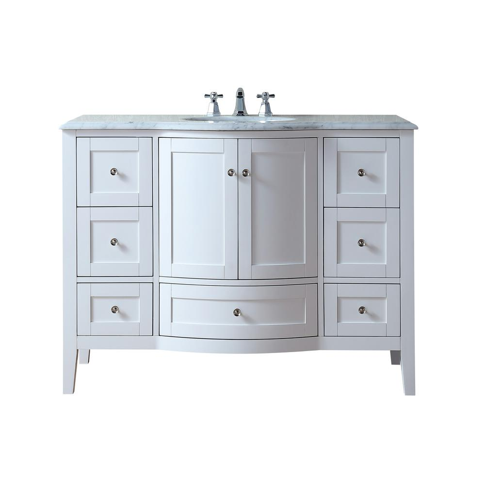 stufurhome Marilyn 48 in. Bath Vanity in White Finish with Carrara Marble Vanity Top in White with White Basin