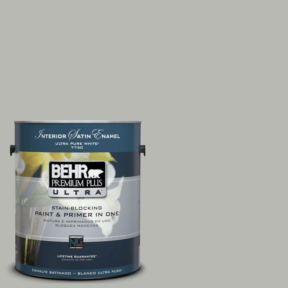 BEHR Premium Plus Ultra 1-gal. #UL260-18 Classic Silver Interior Satin Enamel Paint