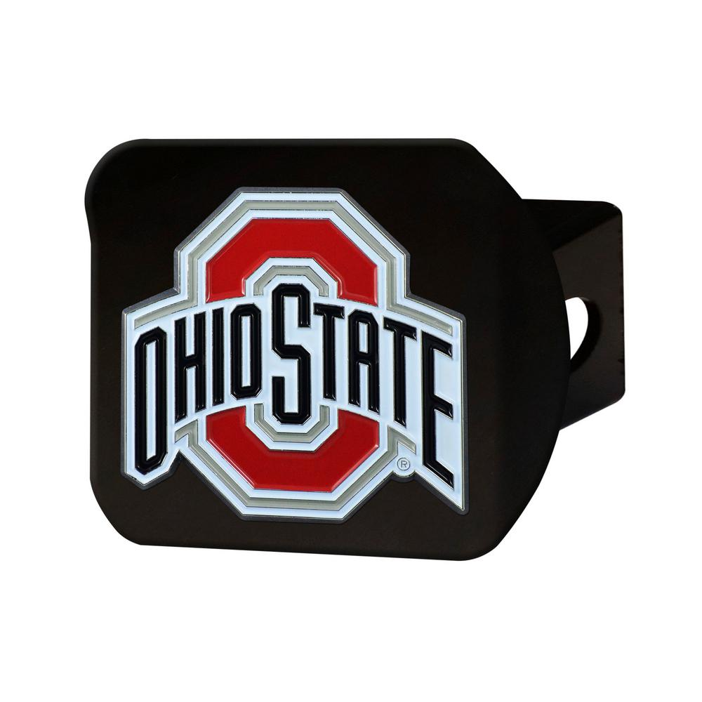NCAA Ohio State University Color Emblem on Black Hitch Cover