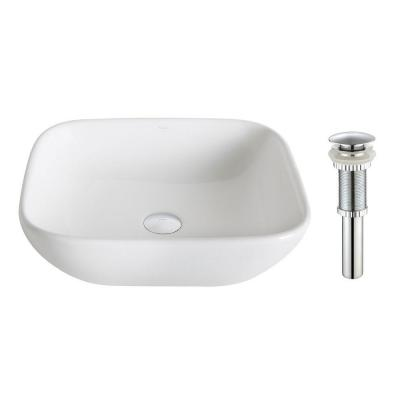 Elavo Soft Square Ceramic Vessel Bathroom Sink in White with Pop Up Drain in Chrome