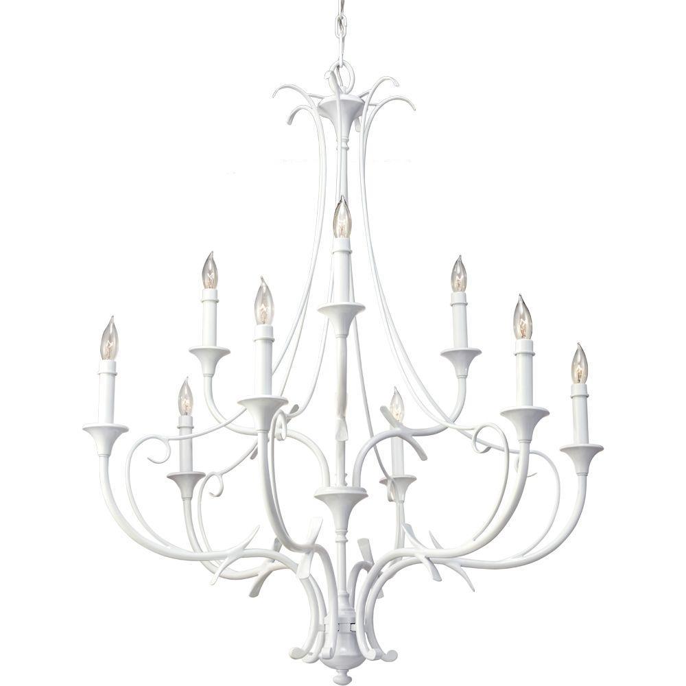 Peyton SALTSPRAY 9-Light Semi-Gloss White Chandelier
