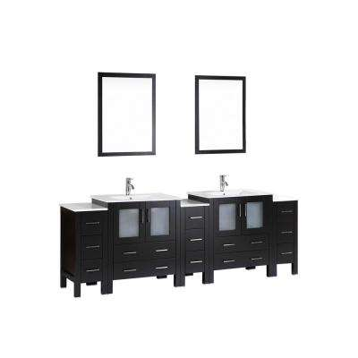 96 in. Double Vanity in Espresso with Ceramic Vanity Top in White with White Basin Polished Chrome Faucet and Mirror