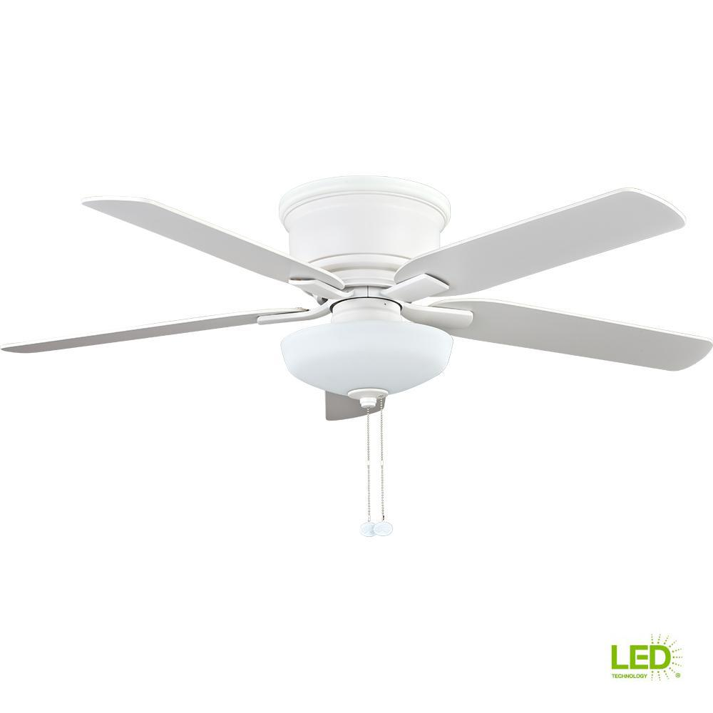 Hampton Bay Holly Springs Low Profile 52 In Led Indoor Matte White Ceiling Fan With