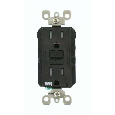 15 Amp SmartlockPro Weather/Tamper Resistant GFCI Outlet, Black
