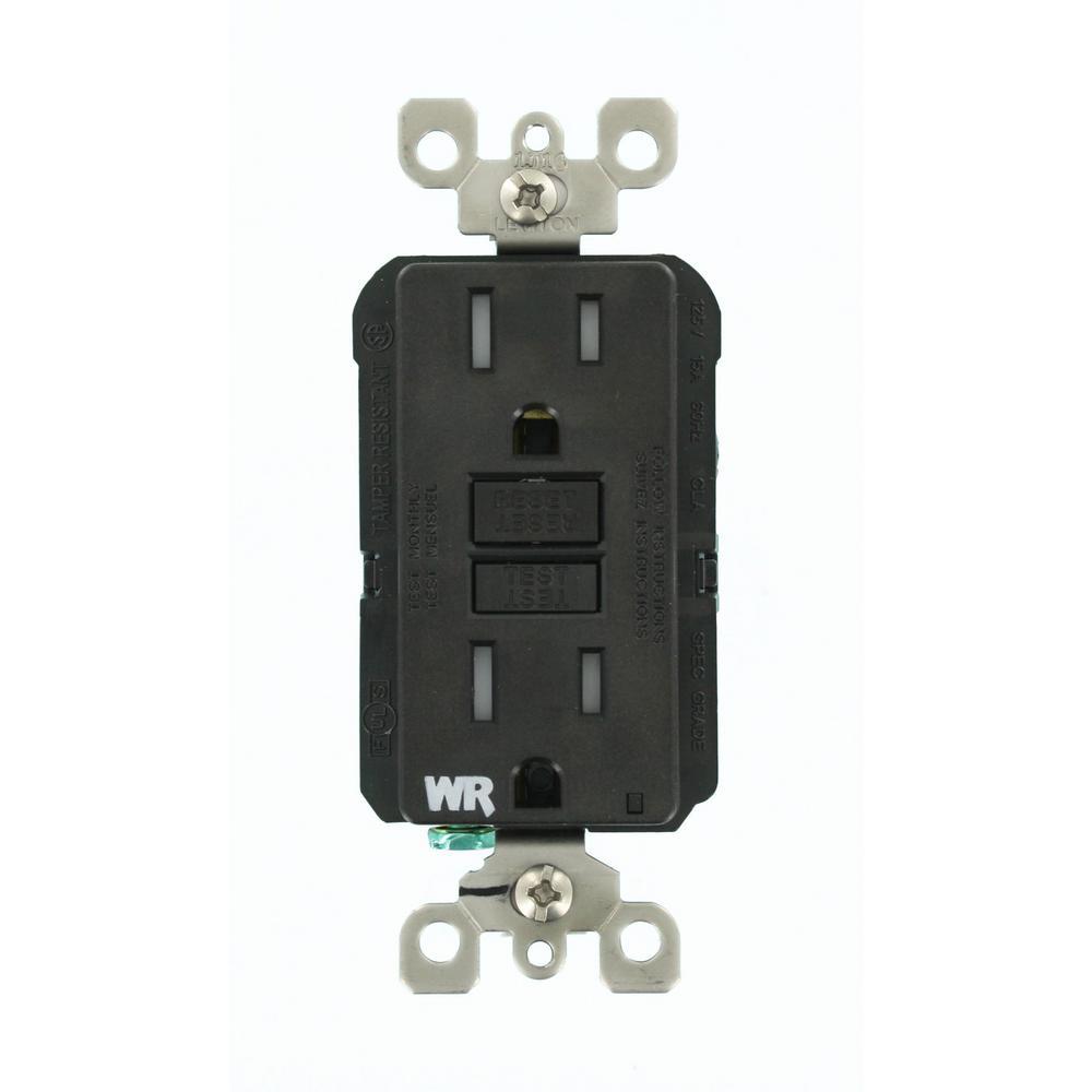 15 Amp SmartlockPro Weather/Tamper Resistant GFCI Outlet, Black