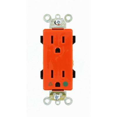 Decora Plus 15 Amp Hospital Grade Extra Heavy Duty Isolated Ground Duplex Outlet, Orange