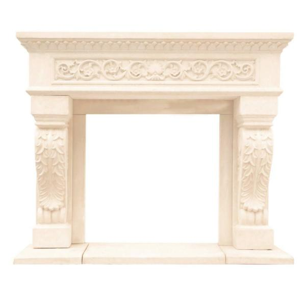 Cast Stone Mantel x 62 in Historic Mantels Chateau Series King Henry 50 in