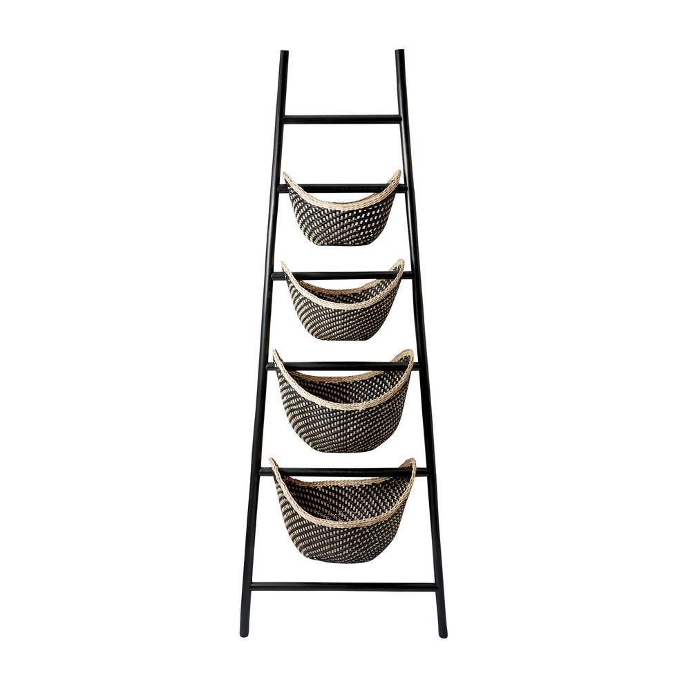 Black Plaid 30 in. x 72 in. Rattan Ladder Basket