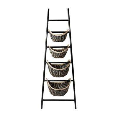 Black Plaid 30 in. x 72 in. Rattan Ladder Basket