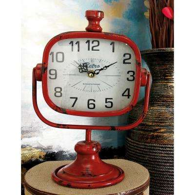 12 in. x 9 in. Retro Multi Rectangular Table Clocks (Set of 2)