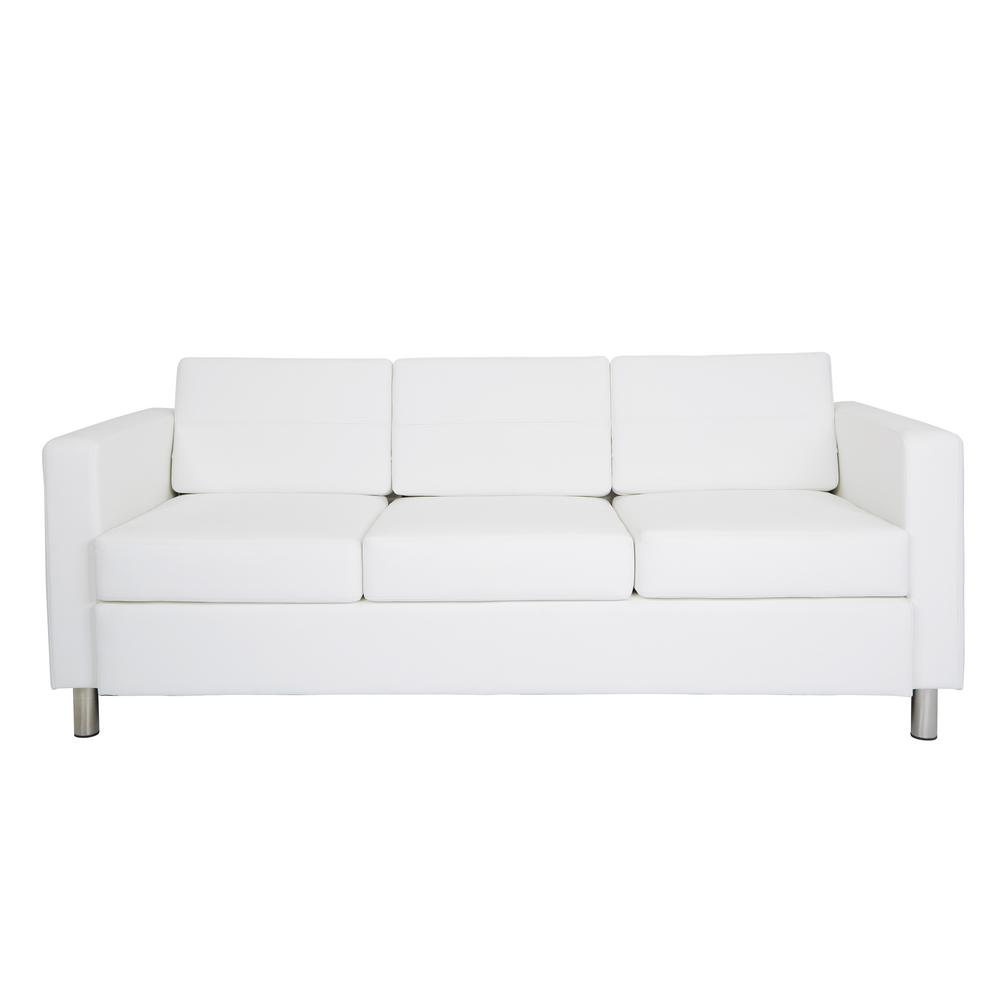 OSP Home Furnishings Atlantic Dillon Snow Fabrics Sofa with Dual Charging Station OSP Home Furnishings Atlantic Dillon Snow Fabrics Sofa with Dual Charging Station