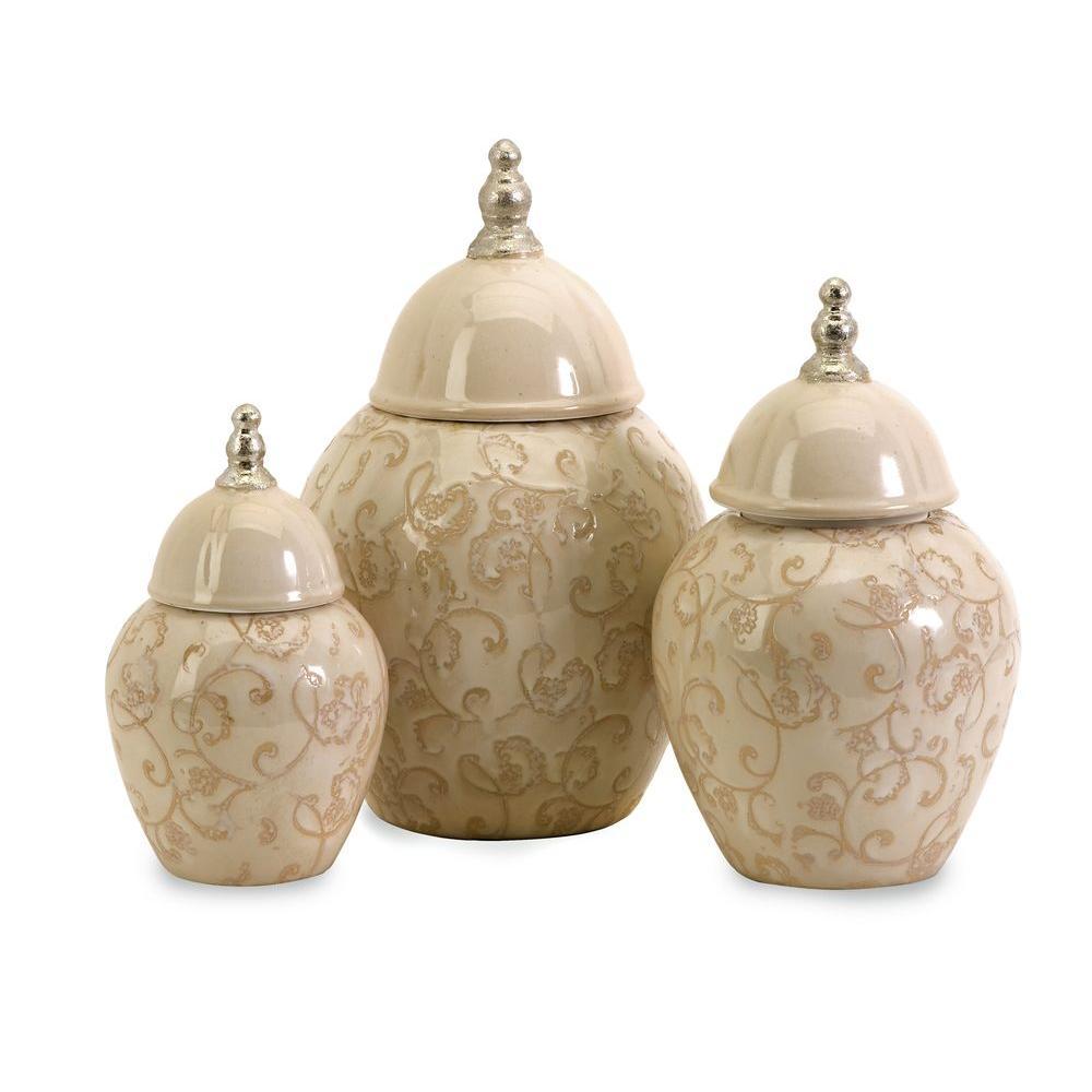 Filament Design Lenor 11.25 in. Beige Ceramic Jar (Set of 3)