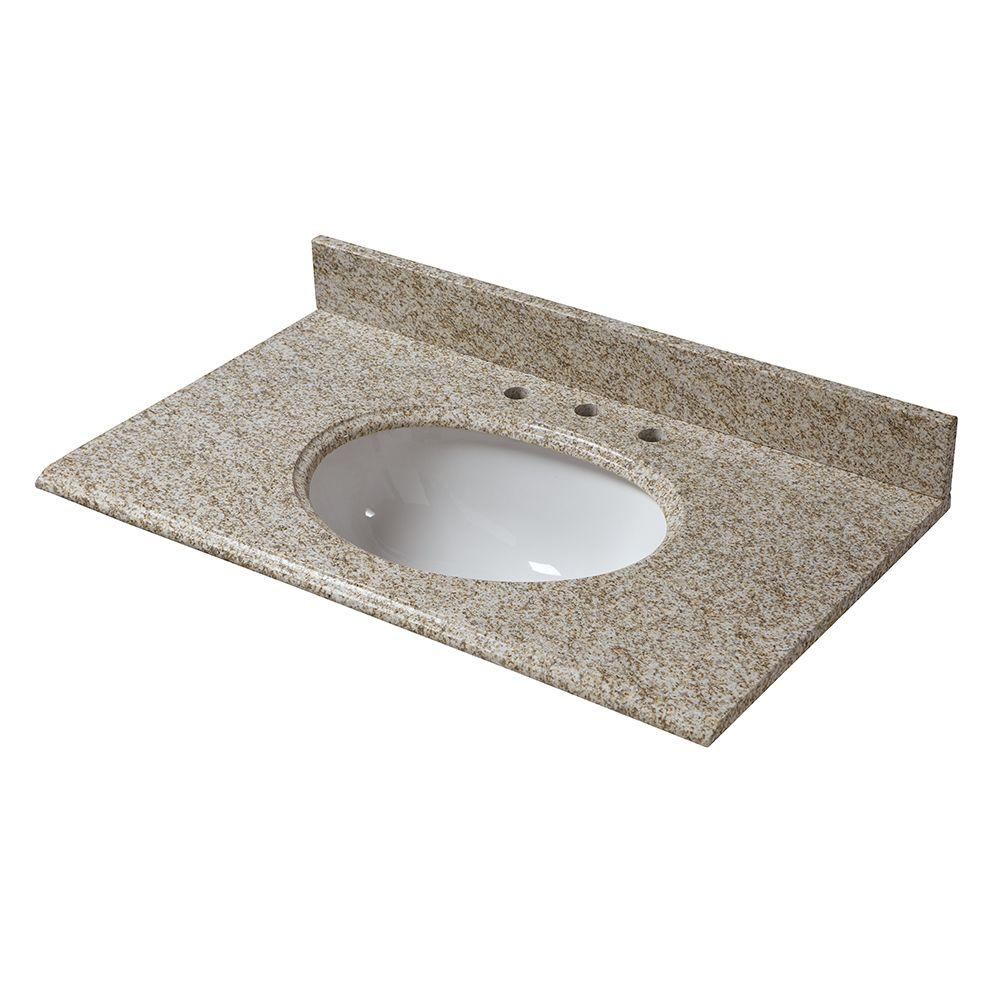 31 in. W Granite Vanity Top in Golden Hill with White
