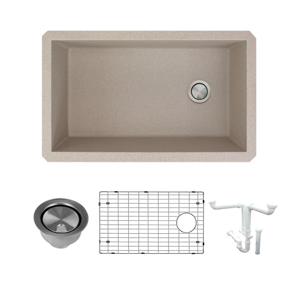 Radius All-in-One Undermount Granite 32 in. Single Bowl Kitchen Sink in Cafe Latte