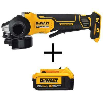 4-1/2 in. 20-Volt MAX XR Lithium-Ion Cordless Brushless Paddle Switch Small Angle Grinder with Free Battery Pack 4.0 Ah