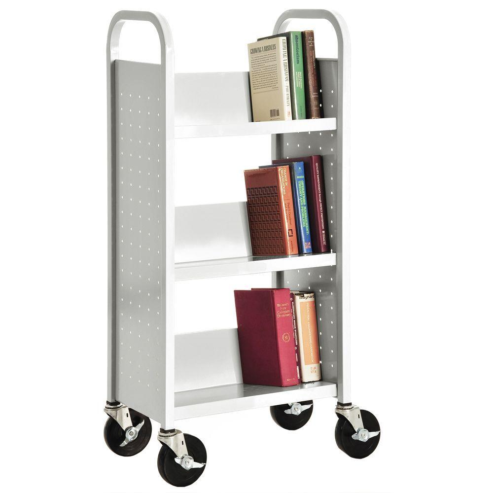 Anti-Microbial White Mobile Steel Bookcase