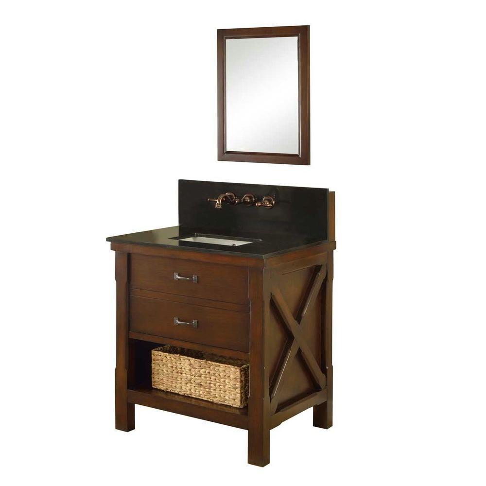 Direct vanity sink Xtraordinary Spa Premium 32 in. Vanity in Dark Brown with Granite Vanity Top in Black and Mirror