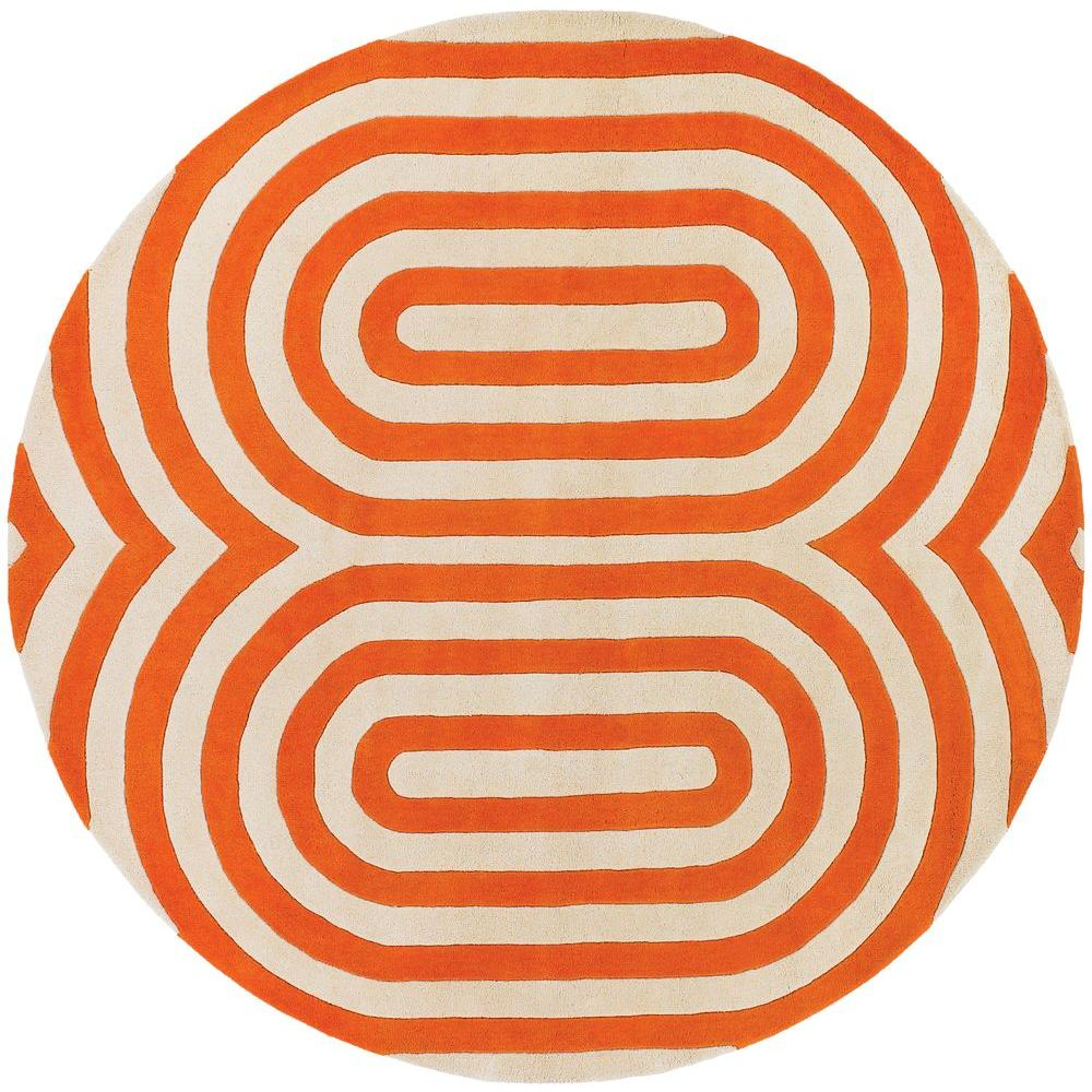 Chandra Thomaspaul Orange/Cream 7 ft. 9 in. Indoor Round Area Rug