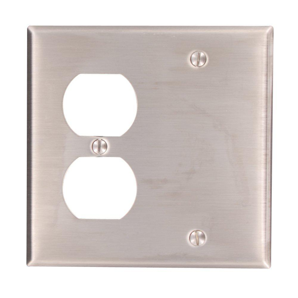 leviton 2gang 1duplex receptacle 1 no device blank standard size stainless steel combination wall plate stainless the home depot