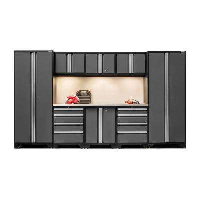 Bold 3.0 77 in. H x 132 in. W x 18 in. D 24-Gauge Welded Steel Stainless Steel Worktop Cabinet Set in Gray (9-Piece)
