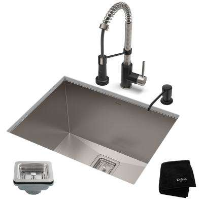 Pax All-in-One Undermount Stainless Steel 24 in. Single Bowl Kitchen Sink with Faucet in Stainless Steel/Matte Black